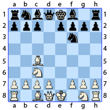Chess Image 11: The King's Knight moves to the third house of the King's Bishop