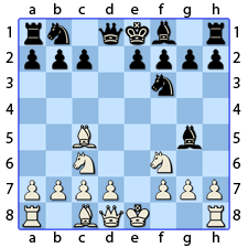 Chess Image 13: Plays the Queen's Bishop to four houses from the other King's Knight, whom the Bishop threatens