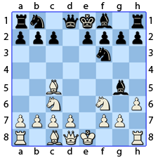 Chess Image 14: Plays the King side rook pawn one point, threatening the Bishop