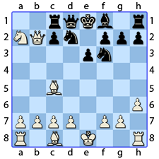 Chess Image 22: His Queen's Knight takes the Rook Pawn on the Queen's side