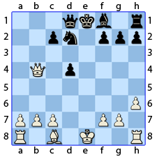 Chess Image 33: His King's Pawn moves to take the Pawn of the other Lady