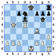 Chess Image 40: Plays his Queen's Bishop to four points of his King's Bishop