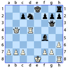 Chess Image 41: His King's Bishop takes the Queen's Bishop at four spaces from the line of the King's Bishop